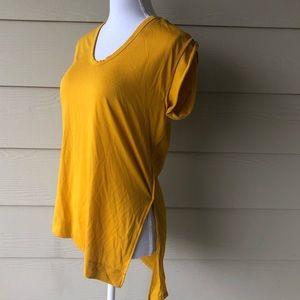 Zara•Mustard Yellow Open Slit Top